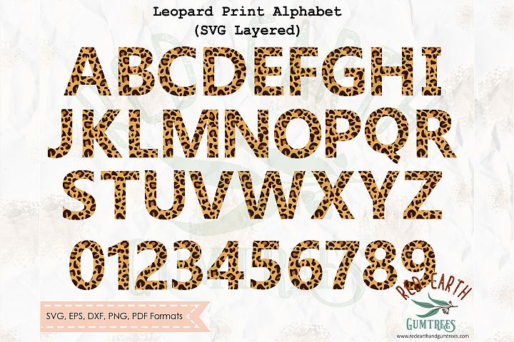 Leopard print pattern letters and numbers SVG,PNG,DXF,EPS