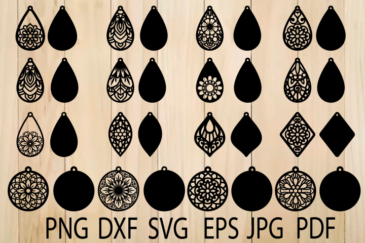 Earrings SVG, Mandala Earring SVG, Earrings Template