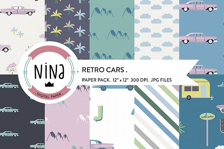 Retro cars digital papers, pink camping van, venice beach,