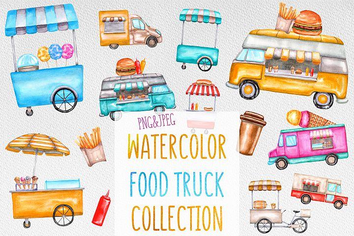 Watercolor food trucks and carts