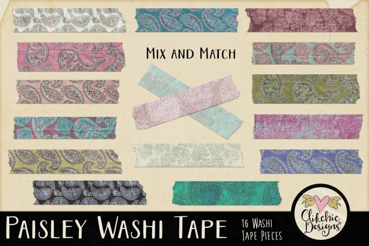 Washi Tape - Paisley Washi Tape Clipart Elements