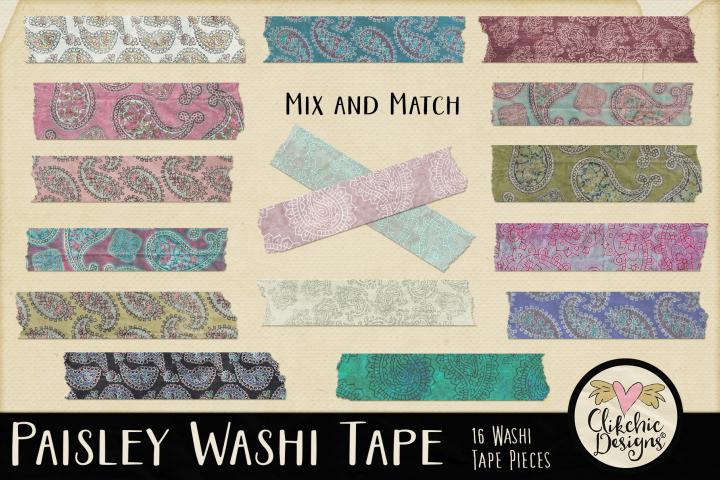 Washi Tape - Paisley Washi Tape Clipart Elements