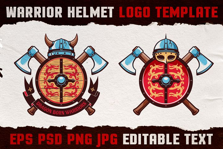 Warrior Viking Helmet Logo Template