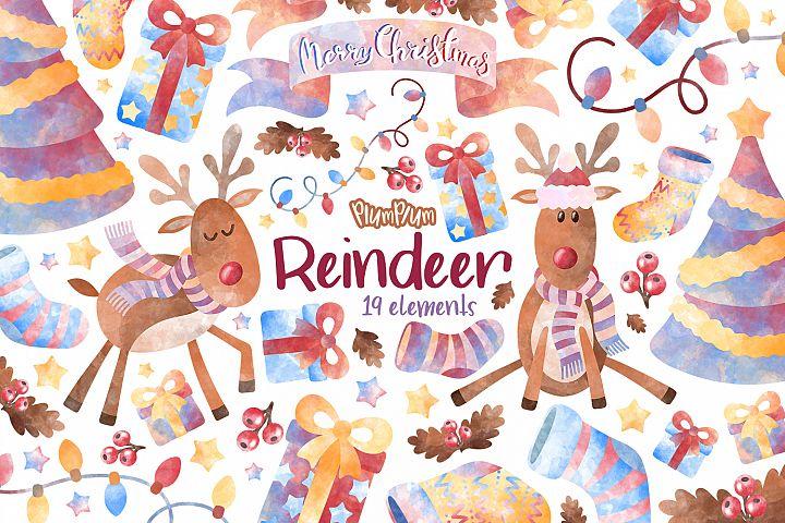Reindeer Watercolor Cliparts
