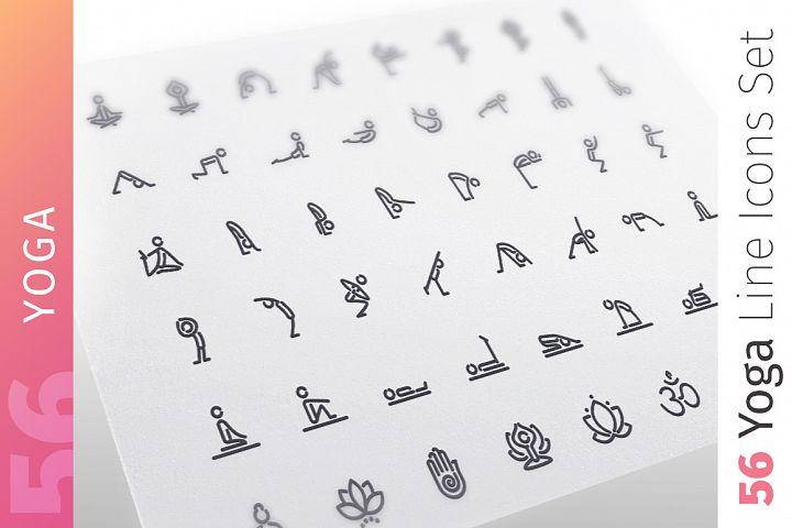 Yoga Line Icons Set