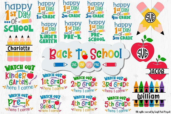 Back To School SVG Bundle, 1st Day Of School Bundle