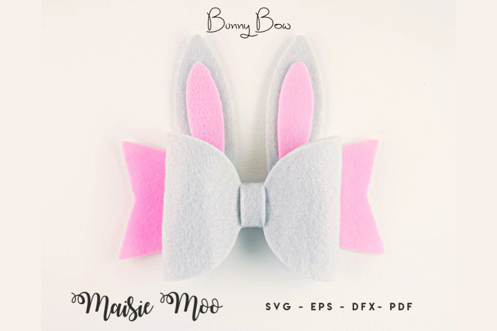 Bunny Bow SVG, Felt Rabbit Bow PDF, Easter Hair Bow Template