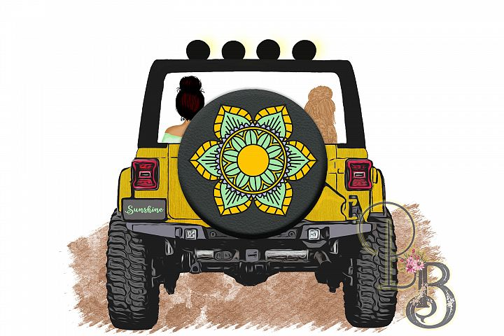 Sunshine Jeep Girl and Dog Graphic