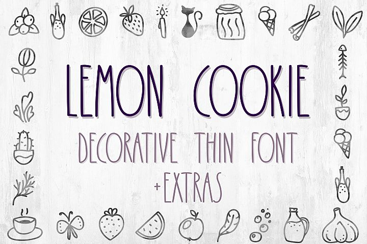 Lemon Cookie - thin font with extra characters pictures