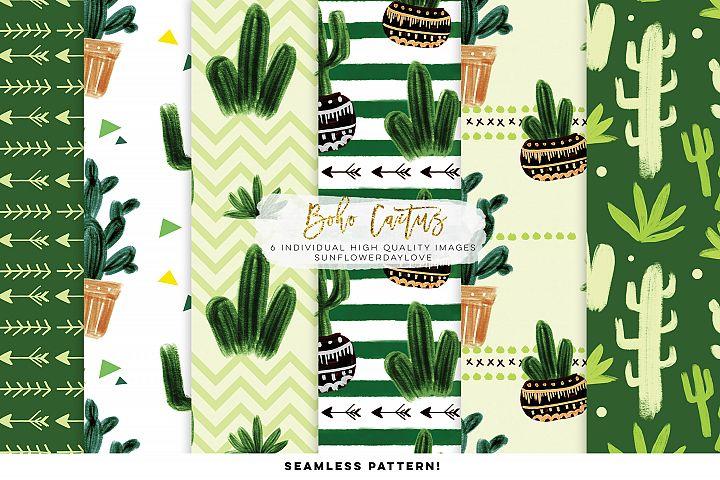 Cactus and Succulent digital paper, seamless cactus paper
