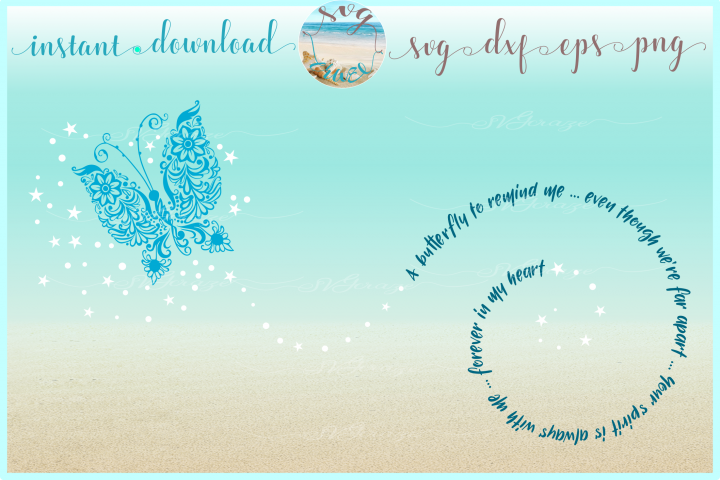 Butterfly to Remind Me Mandala Zentangle SVG Dxf Eps Png