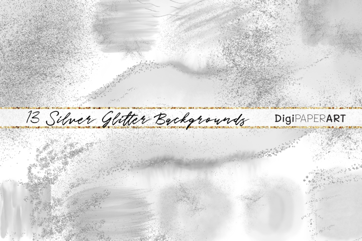 Silver Glitter and Grey Watercolor Backgrounds