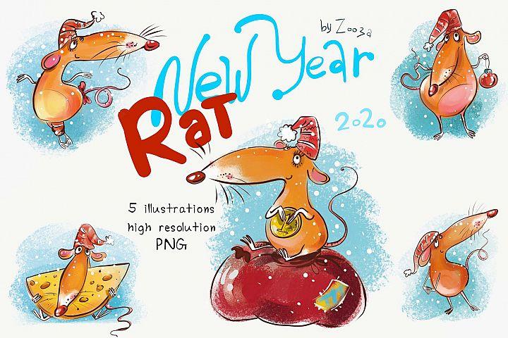 New Year Rat - 5 illustrations