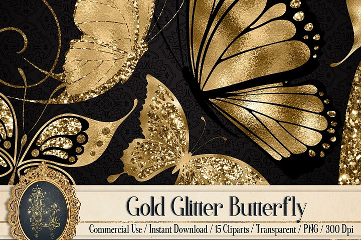 15 Gold Glitter Foil Butterfly Clip Arts