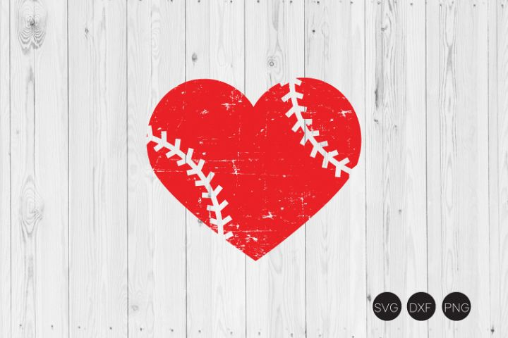 Distressed Baseball Heart SVG,Distressed Heart SVG