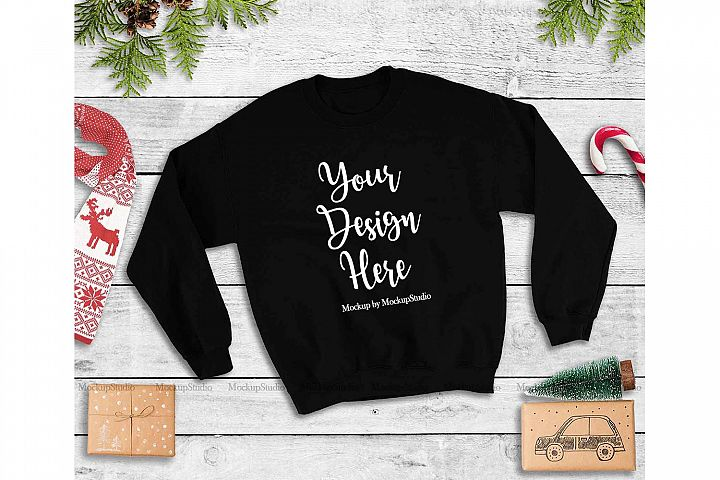 Black Christmas Sweatshirt Mock Up, Winter Sweatshirt Mockup