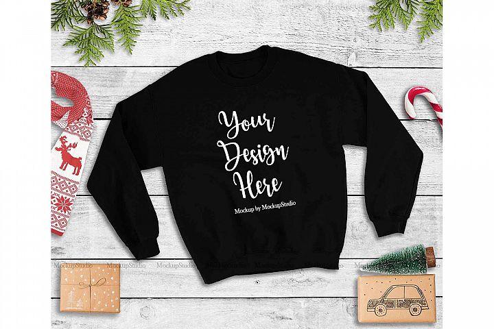 Black Christmas Sweatshirt Mock Up, Winter Sweatshirt Mockup