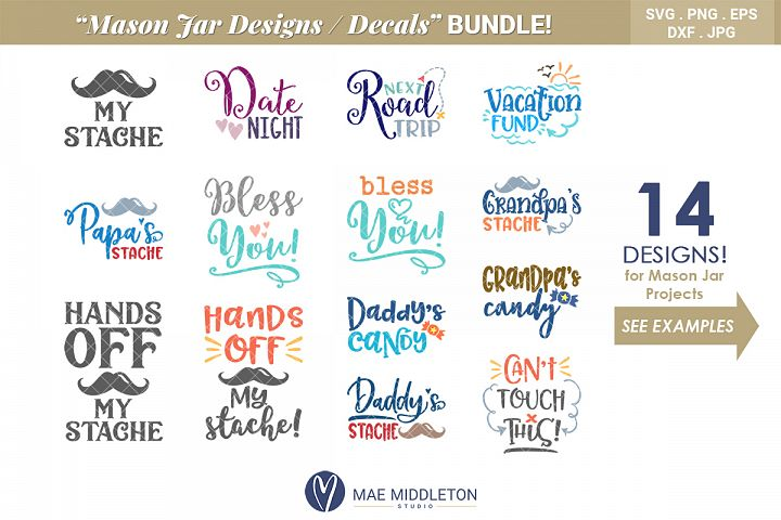 Mason Jar Designs, Decals, printable labels svg files Bundle