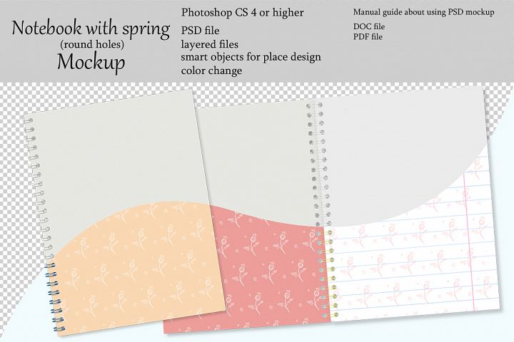 Notebook with spring mockup. Sketchbook mockup.