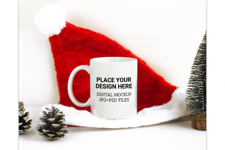 Christmas Mug Mockup - Coffee Mug Mockup - Stock Photo