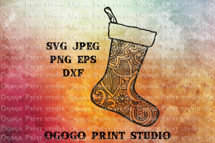 Christmas Stocking Svg, Christmas svg, Zentangle SVG,Mandala