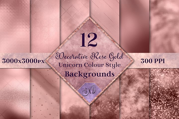 Decorative Rose Gold Unicorn Colour Style Backgrounds