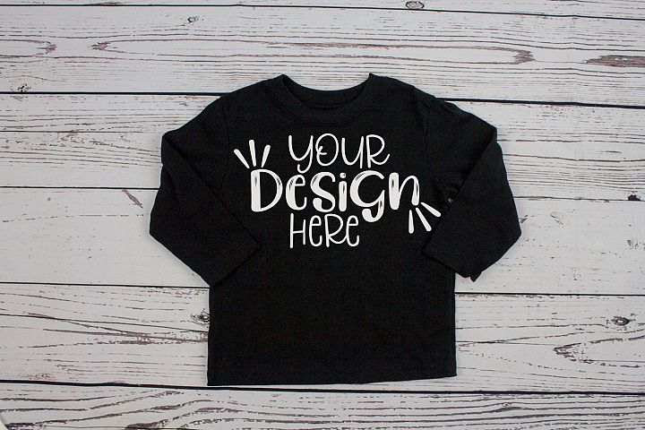Black long sleeve toddler t-shirt mockup