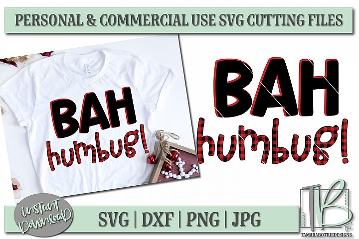 Bah Humbug SVG, Buffalo Plaid SVG File, Christmas Cut file