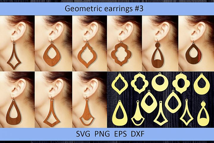 12 Geometric earrings svg Wood earrings svg Necklace svg