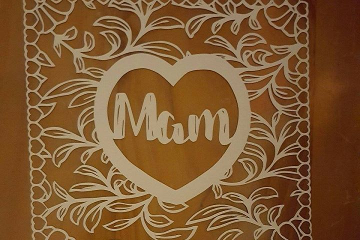 MAM, MOM & MUM floral square papercutting template