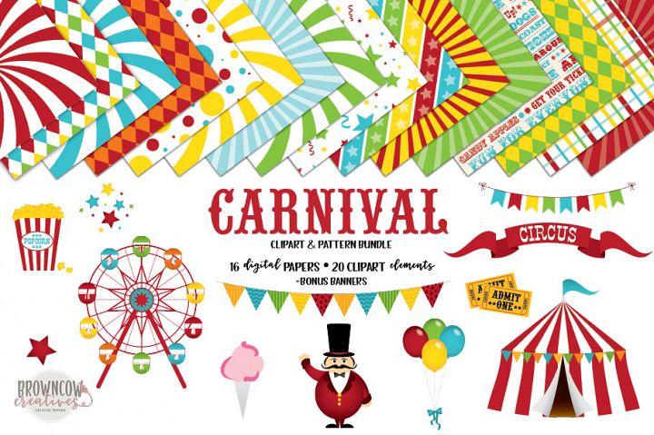 Carnival, Circus Clip Art, Digital Papers & Bonus Banners