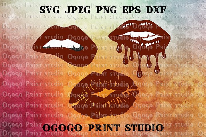 Bleeding Lips Svg Bundle, Kiss svg file, Love svg