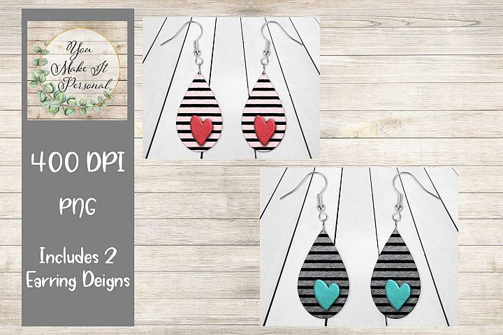 Valentines Day Design, Earrings, Stripes on Leather, Hearts