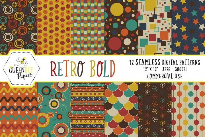 Bold Retro Seamless Digital Patterns