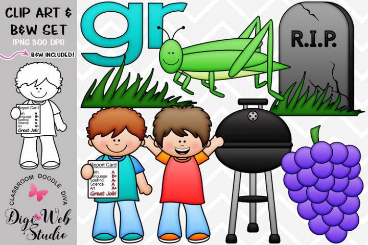 Clip Art / Illustrations - R Blends - gr Phonics