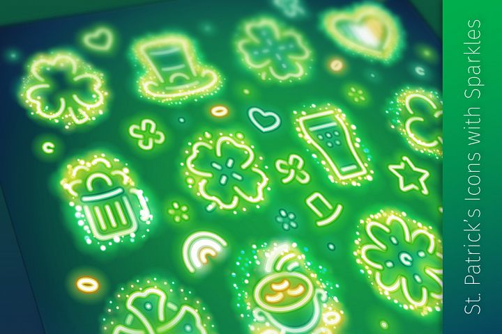 St Patricks Icons with Sparkles