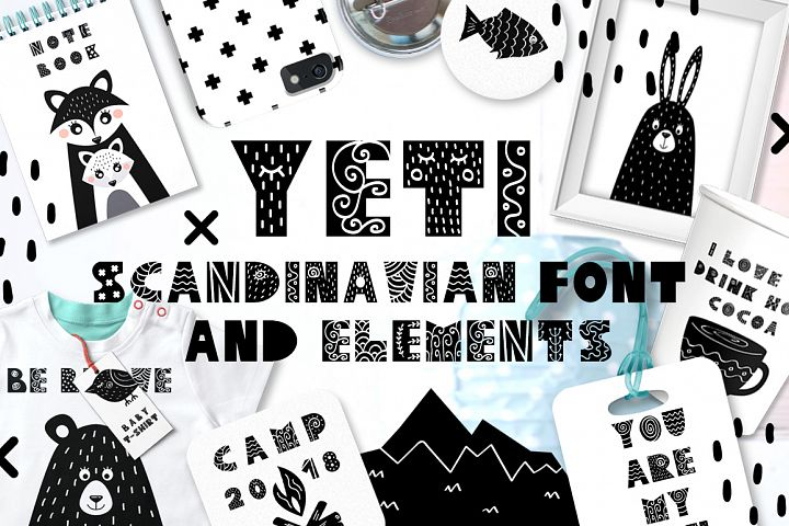 Yeti - Scandinavian font & elements