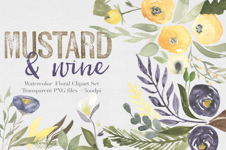 Mustard & wine Floral Clipart Set