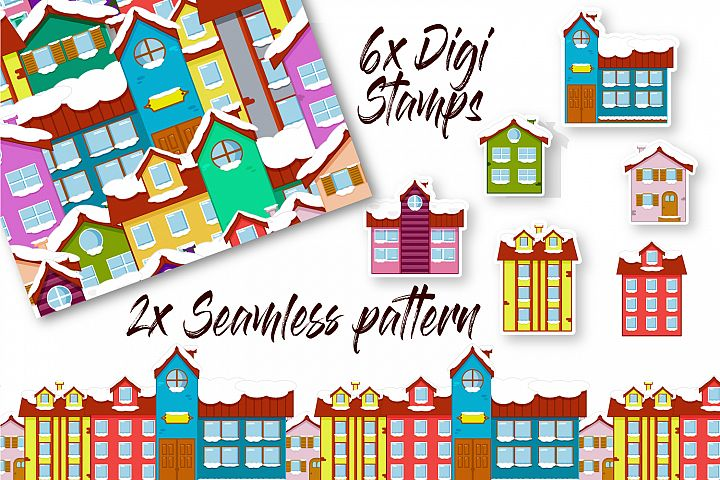 Christmas Mini Bundle - 2x Seamless Pattern and 6 Clip Arts