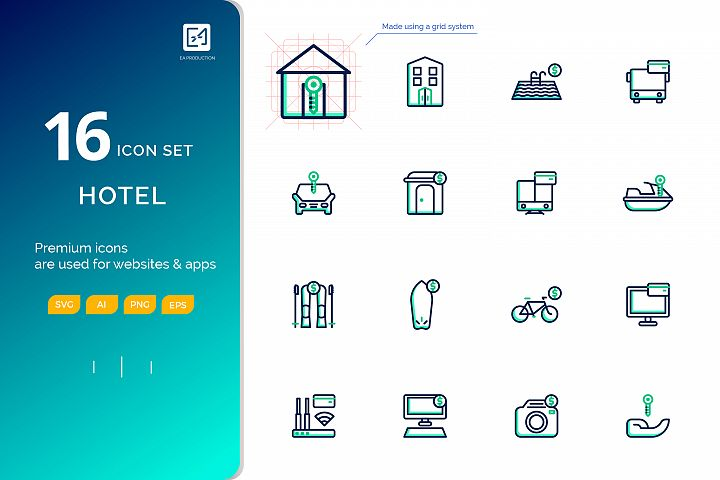 Icon set RENTAL outline fill color style