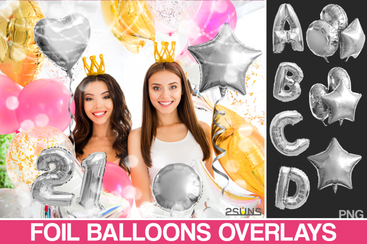 45 Foil Number Balloons Alphabet Photoshop Overlays, Silver