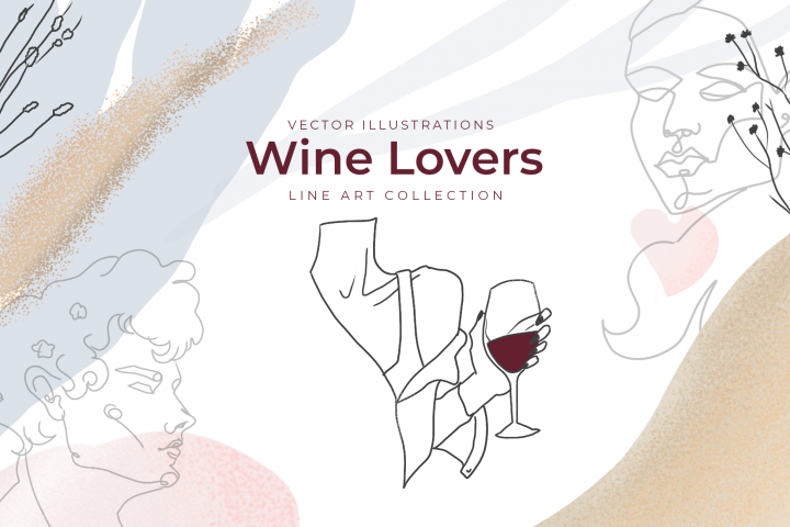 Vector illustrations Wine lovers
