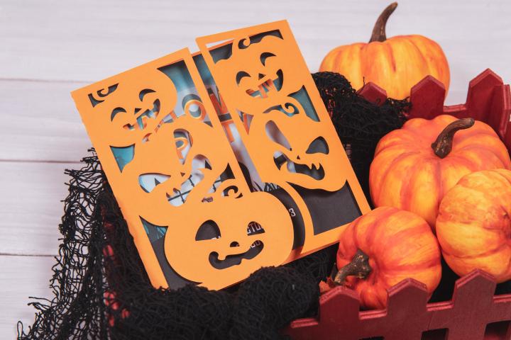 Jack O Lantern Two Side Halloween Invitation cutting file