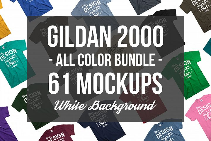 Tshirt Mockup Bundle Gildan Mens Tshirt White Background