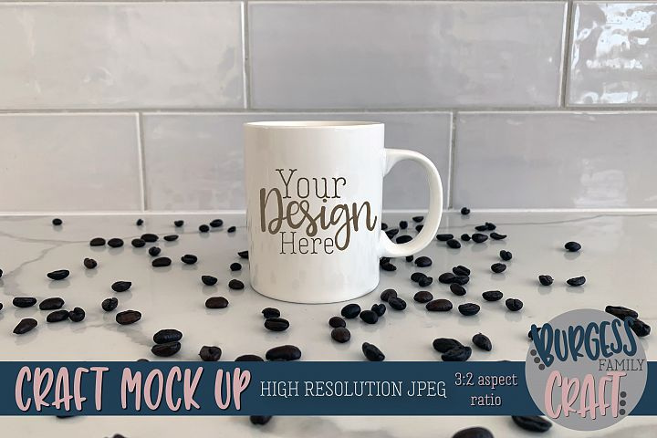 White coffee mug Craft mock up|High Resolution