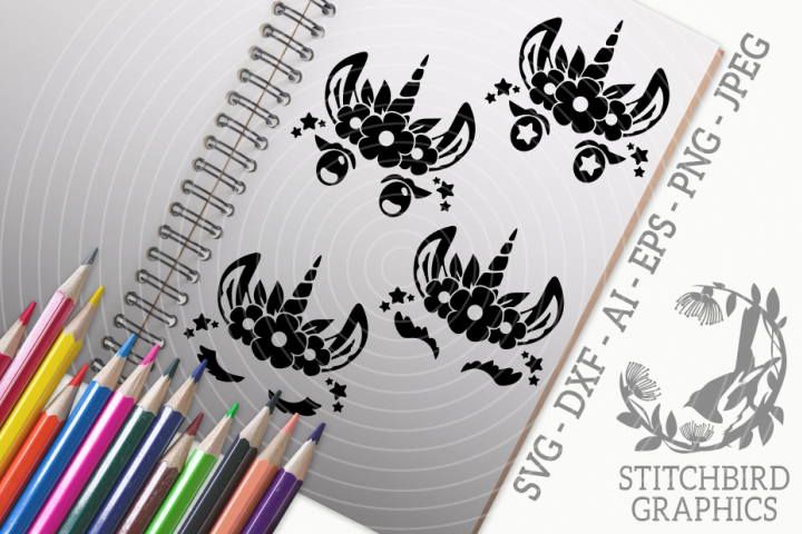 Unicorn Eyelashes 2 Bundle SVG, Silhouette Studio, Cricut