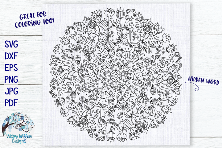 Love Mandala | Hidden Word Mandala SVG Cut File