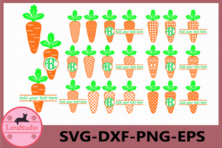 Carrot Svg, Patterned Carrots Monogram Polka Dot, Chevron