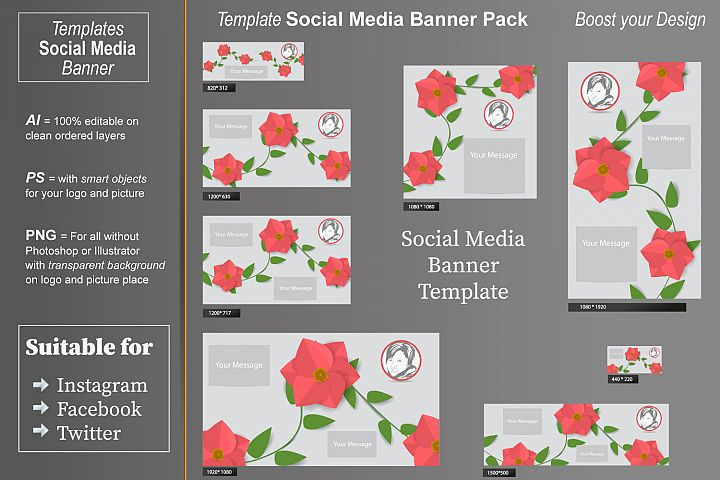Template - Social Media Banner- Flower Time