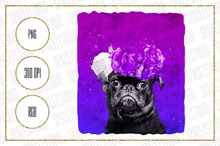 Pug Portrait Design For Sublimation, Pug With Floral Wreath